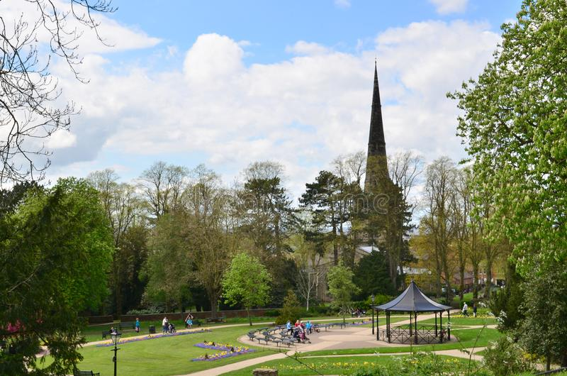 Hinckley. Town centre leicestershire over looking the mead to St Mary's church royalty free stock photos
