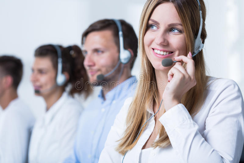 Call agent working in tele service royalty free stock photography