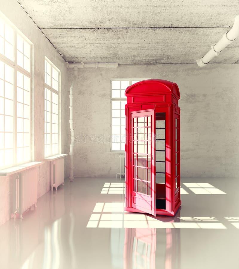 Call-box. Retro call-box in the empty room (3d illustrated concept stock illustration
