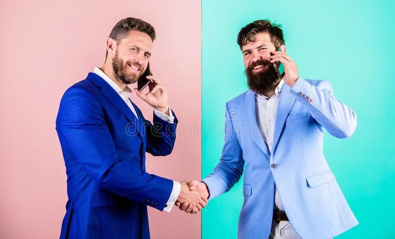 Call business partner. Busy with conversation confirm arrangements. Businessmen use modern gadget smartphone with online. Access. Business people use internet stock photo