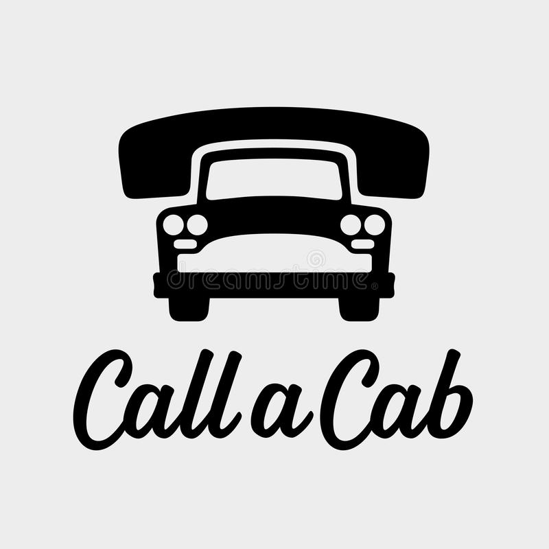 Call a cab taxi service icon. Call a cab, taxi service icon, cause a car by phone, order taxi concept, old car vector illustration vector illustration