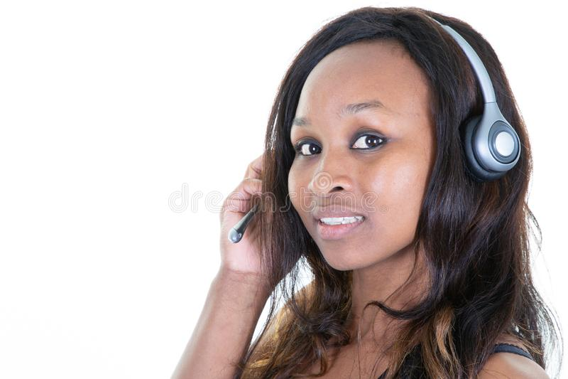 Call center african woman employee isolated on white background stock photography