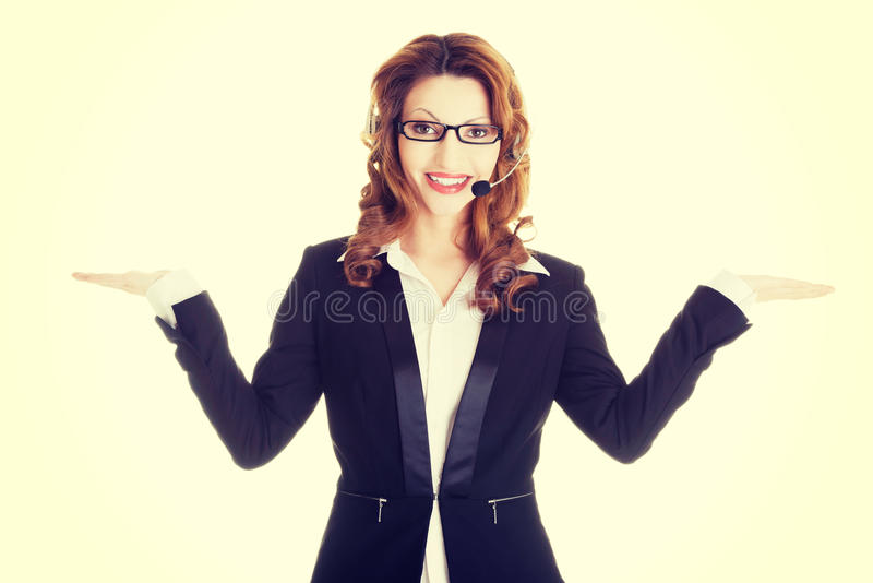 Call center assistant advertising copy space stock image