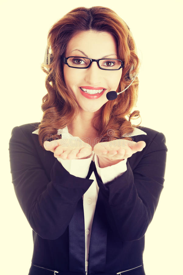 Call center assistant advertising copy space royalty free stock photos