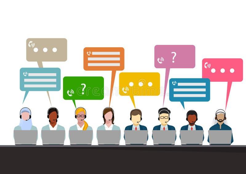 Call-Center-Betreiber Team, Mann-Kundin-Stützleute-Gruppen-Chat-Blasen-Internet-Kommunikations-dünnes Zeilendarstellung vektor abbildung