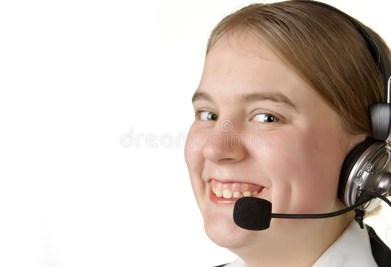 Call center business girl with headset stock photography