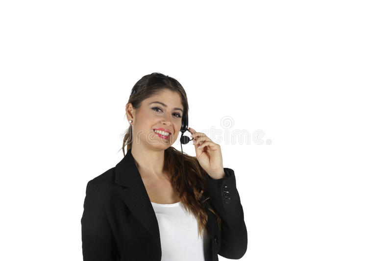 Call center business woman. Call center operator business woman. Isolated on white background stock photos