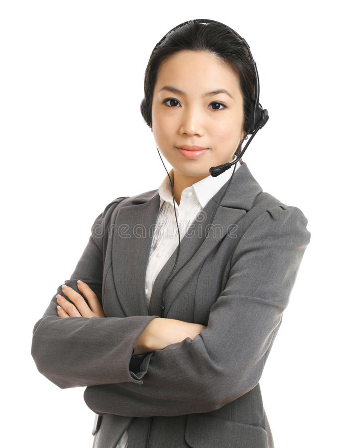 Call center business woman with headset. With white background stock photo