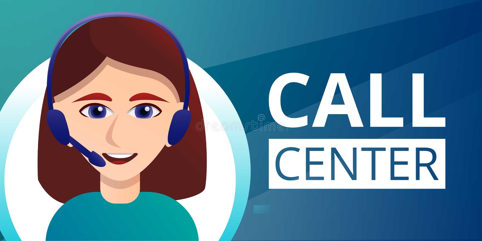 Call center concept banner, cartoon style royalty free illustration