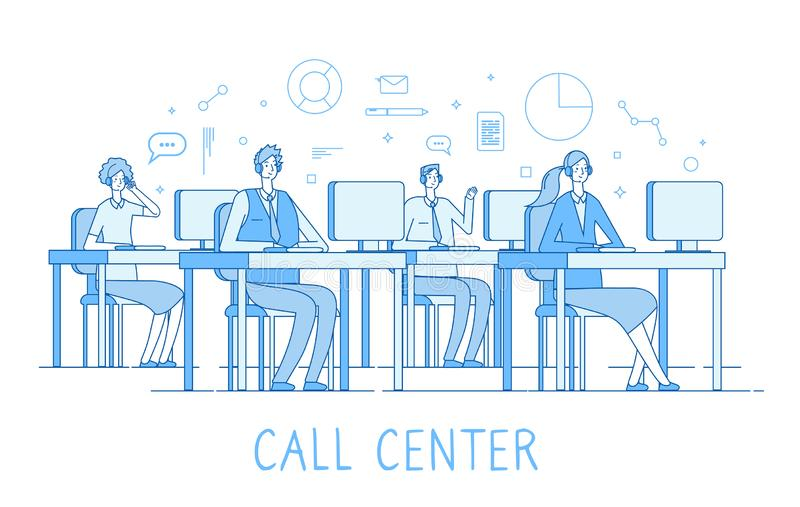 Call center concept. Customer support service helpdesk services call center computers operator supporting client vector stock illustration
