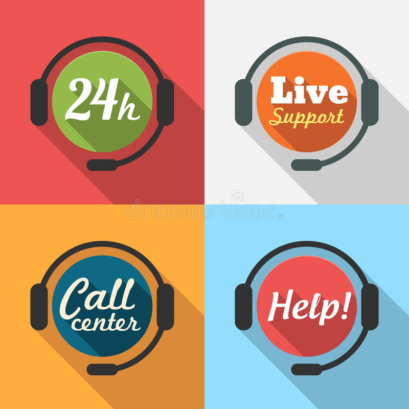 Free Call Center / Customer Service / 24 Hours Support Flat Icon Royalty Free Stock Photos - 39608608