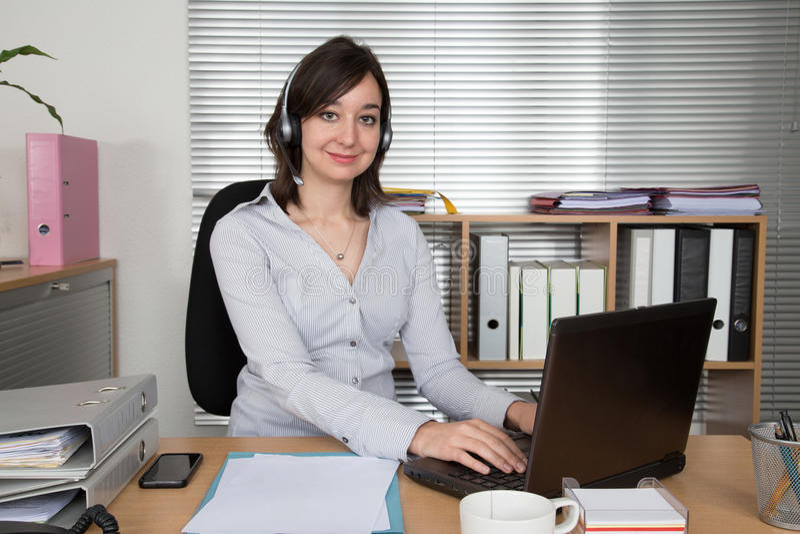 Call Center, Customer Service Representative, Connection at office. Call Center, Customer Service Representative, Connection at desk at business place royalty free stock photo