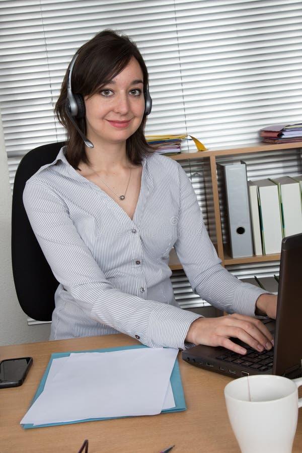 Call Center, Customer Service Representative, Connection at office. Call Center, Customer Service Representative, Connection at desk at business place stock photo