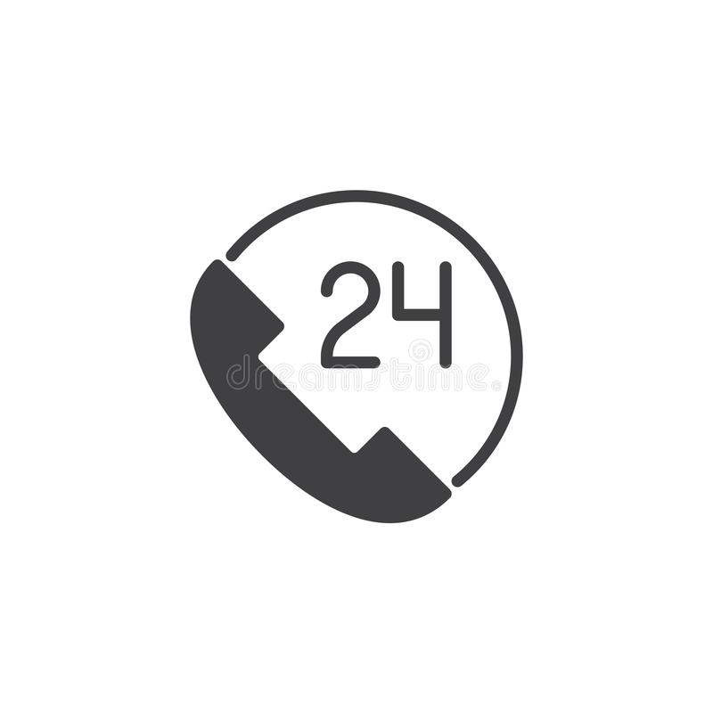 24 call center customer service vector icon. Filled flat sign for mobile concept and web design. All-day customer support call-center simple solid icon. Symbol stock illustration