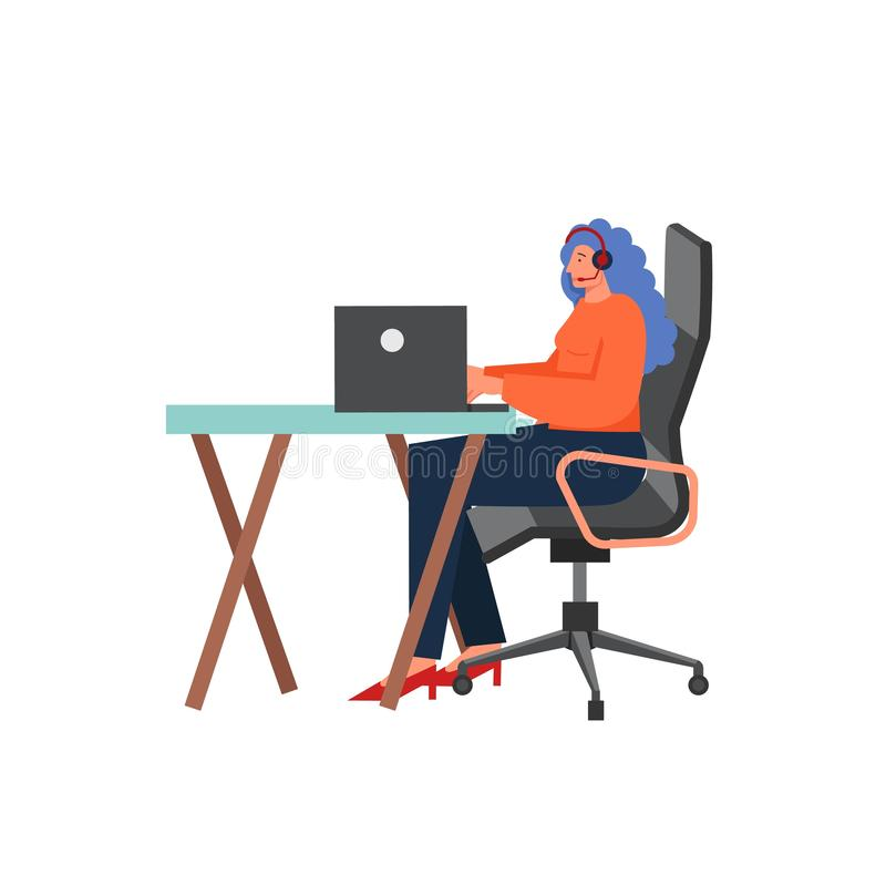 Call center delivery service, vector flat isolated illustration royalty free illustration