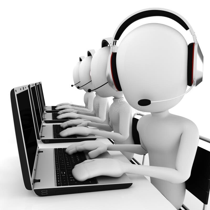call center dell'uomo 3d isolata su bianco royalty illustrazione gratis