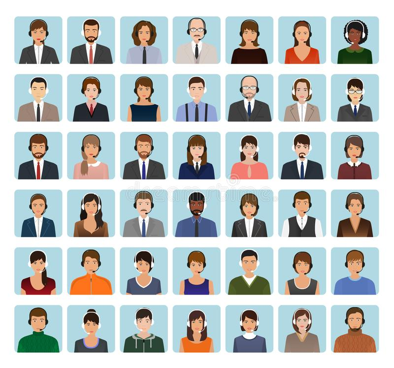 Call center employee avatars set with headset. Support service characters icons of faces. vector illustration