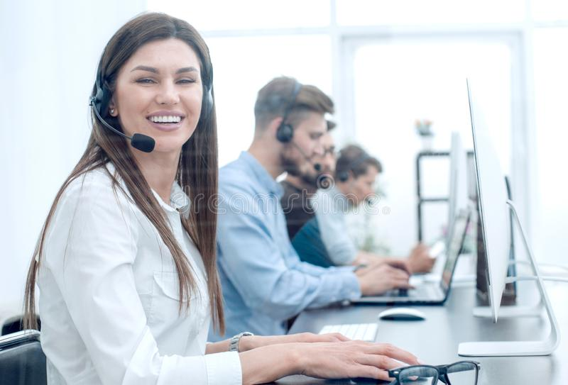 Call center employee in the workplace stock photography