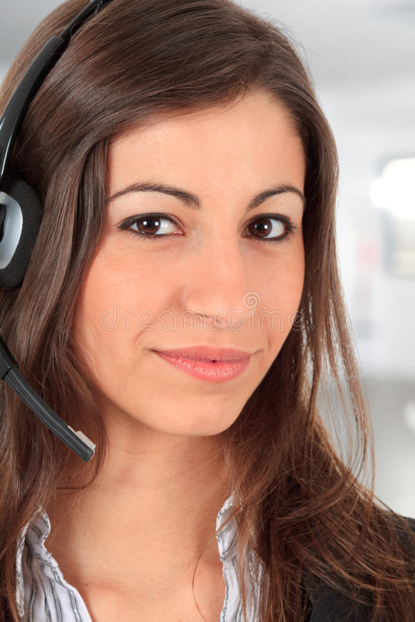 Call center female operator stock images