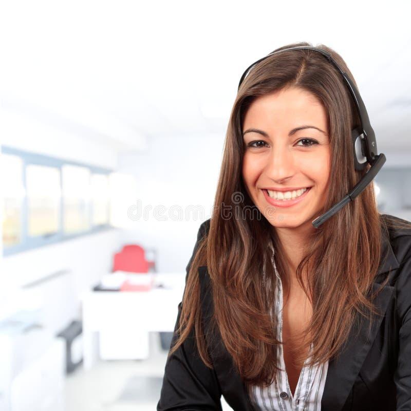 Call center female operator royalty free stock image