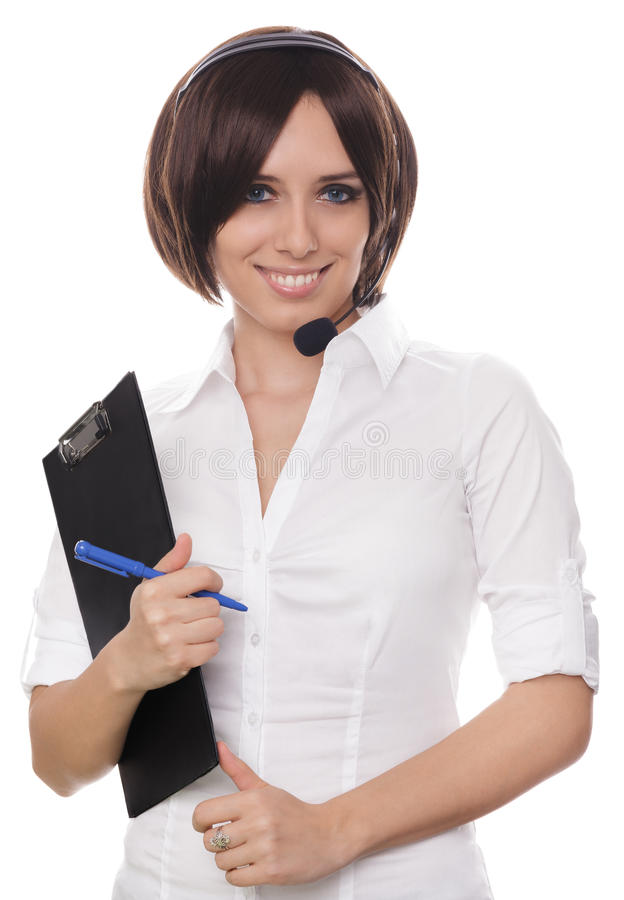 Call Center Girl with Clipboard royalty free stock image