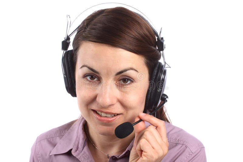 Call center girl. Portrait of call center girl over white stock photos
