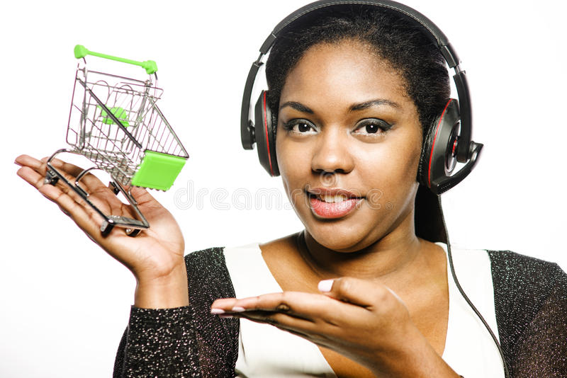 Call center girl. With shopping cart stock image