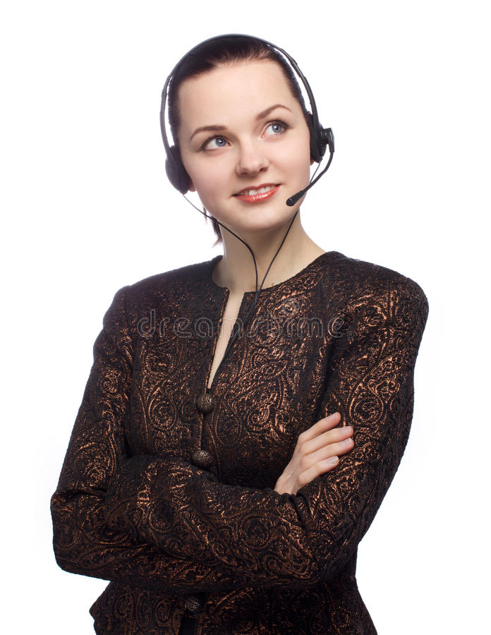 Call center girl smiling and looking up on white. Backgound stock photography