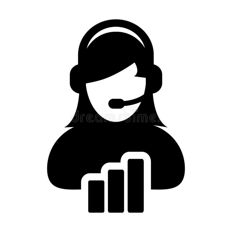 Call center icon vector female data support customer service person profile avatar with headphone and bar graph for online vector illustration