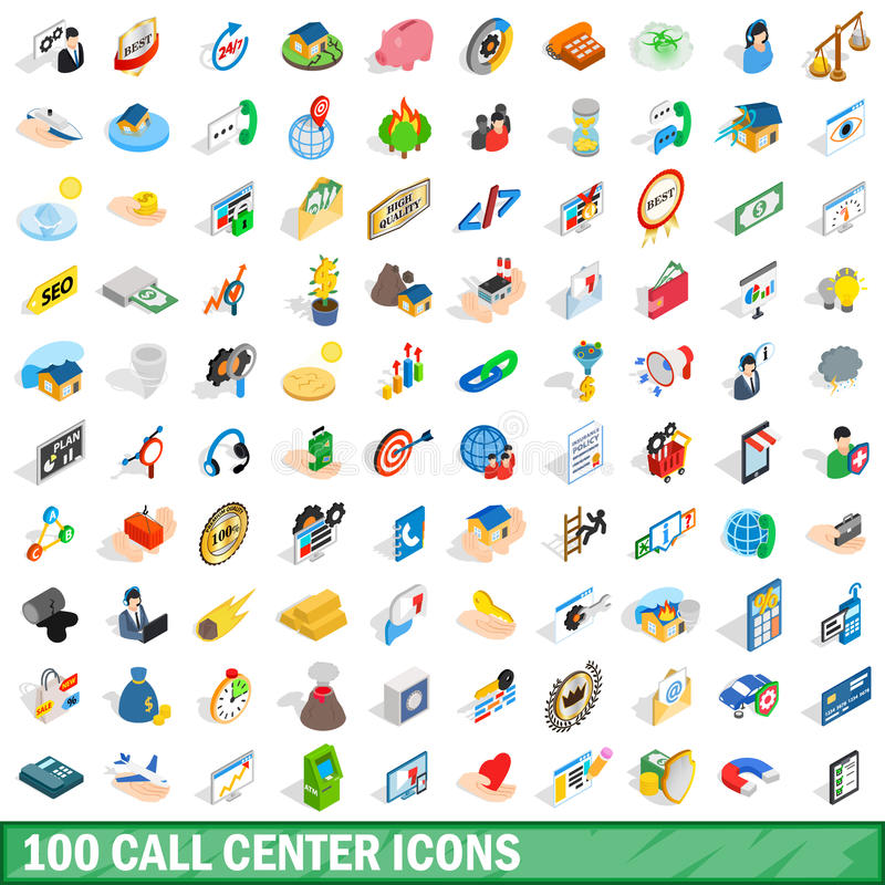 100 call center icons set, isometric 3d style stock illustration