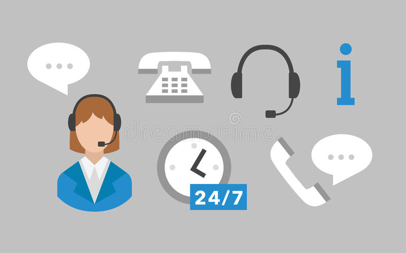 Call center icons vector set stock illustration