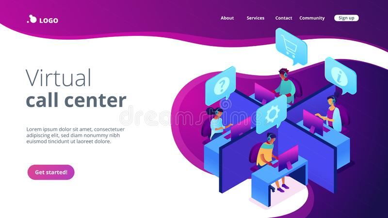 Call center isometric 3D landing page. Customer service operators wearing headsets answering phones in the office. Call center, handling call system, virtual vector illustration