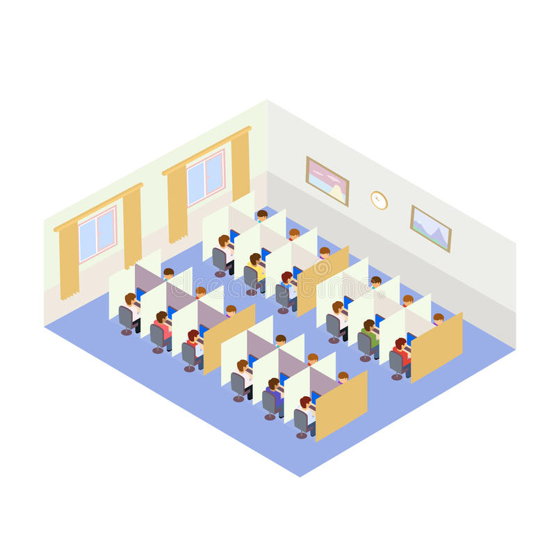 Call Center Jobs People. Isometric style stock photography