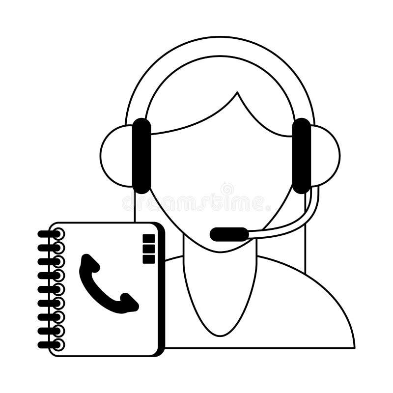 Call-Center-Kundendienst Schwarzweiss vektor abbildung