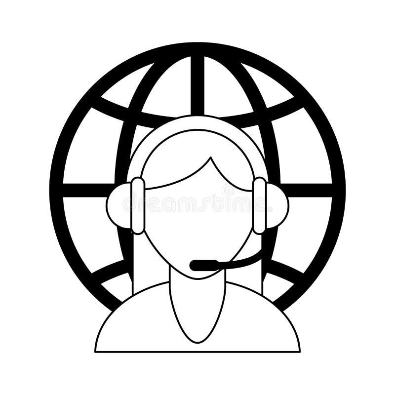 Call-Center-Kundendienst Schwarzweiss stock abbildung