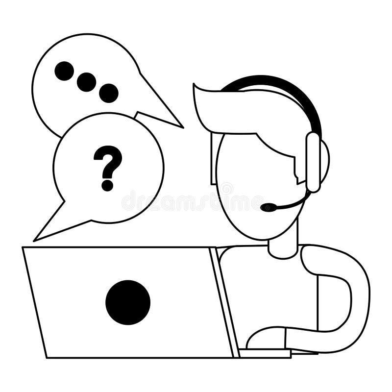Call-Center-Kundendienst Schwarzweiss lizenzfreie abbildung