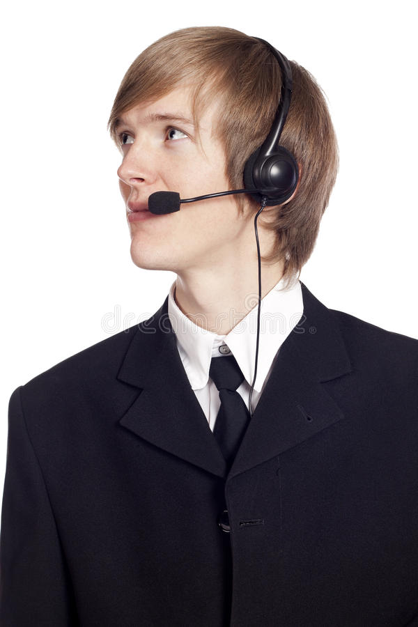 Call center male operator stock image