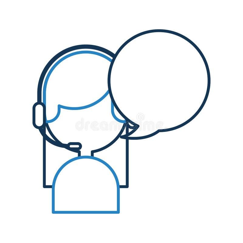 Call-Center-Mittel mit Spracheblasenavatara stock abbildung