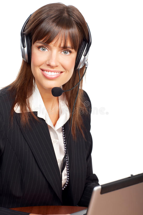 Call Center Operator. Beautiful business woman with headset. Over white background royalty free stock images