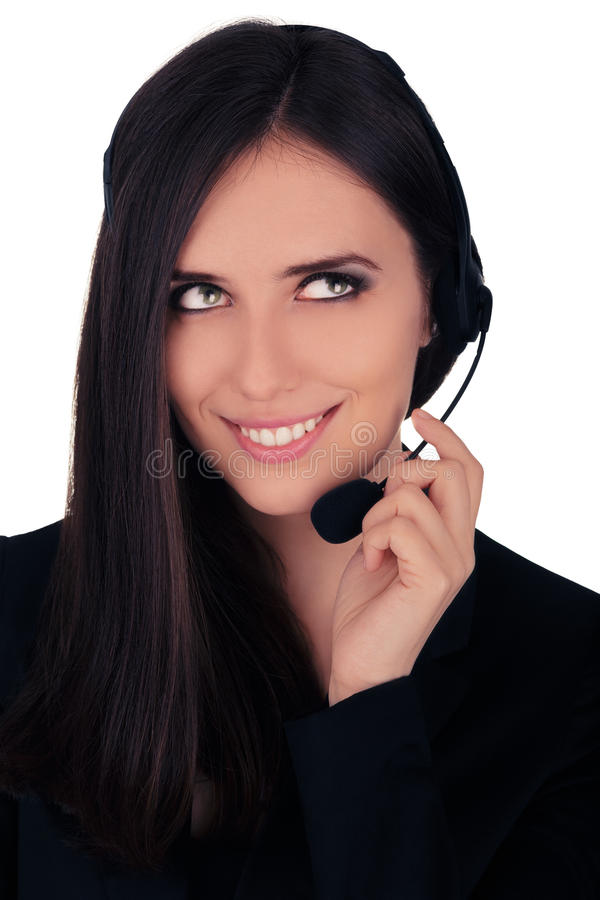 Call Center Operator in Black Blazer stock photography
