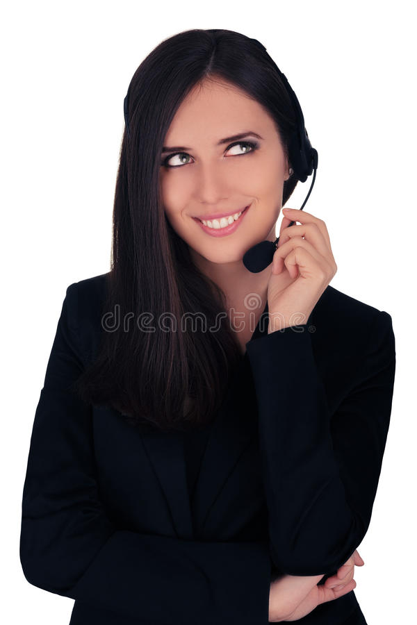 Call Center Operator in Black Blazer royalty free stock photo