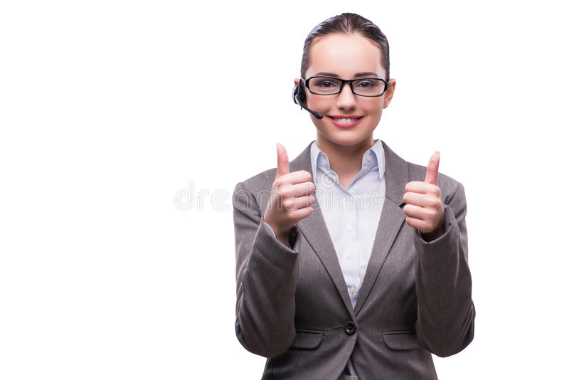 The call center operator in business concept on white stock images