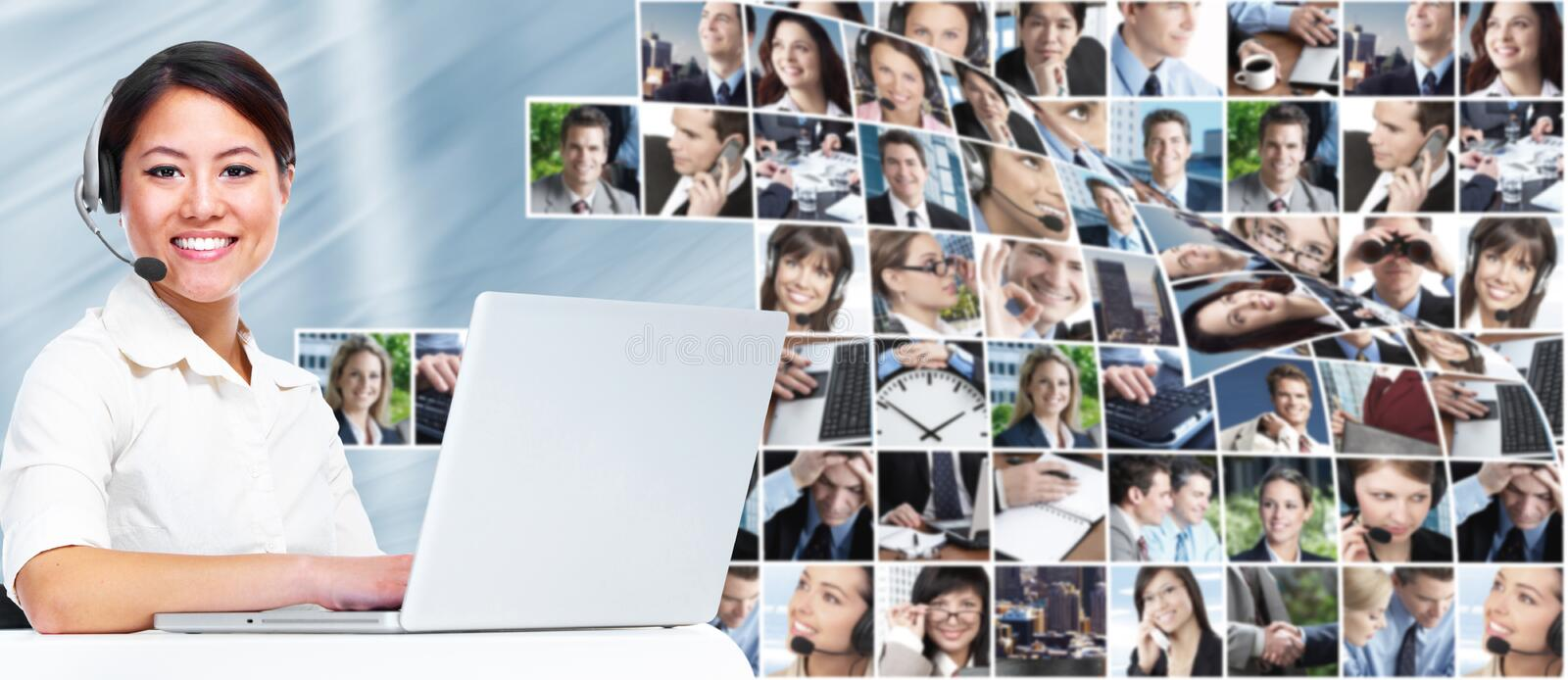 Call center operator business woman. stock image