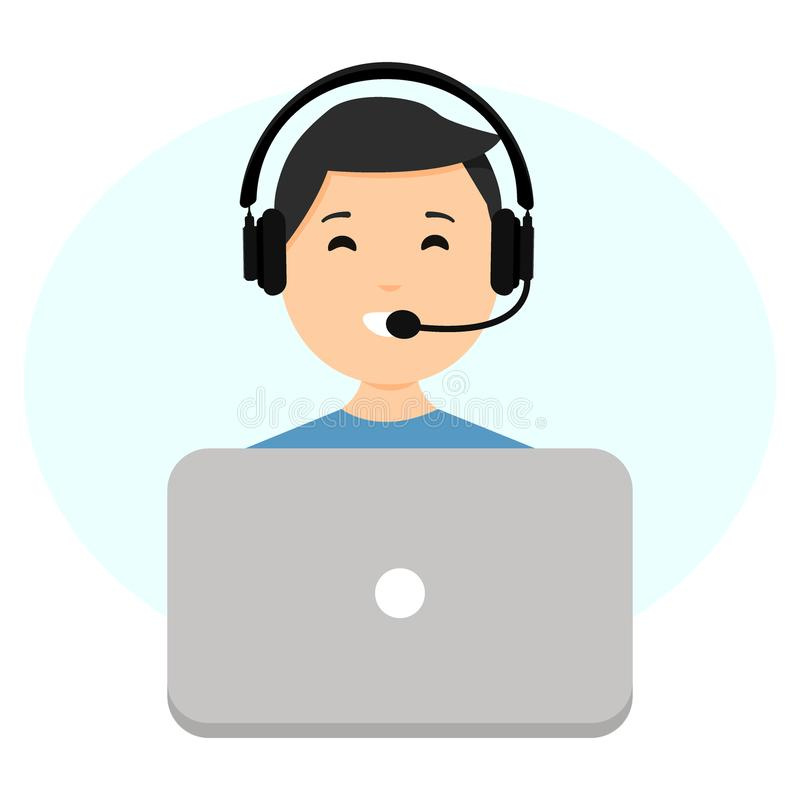 Call center operator concept, customer support phone operator concept. Can be used for websites, presentations, banners vector illustration