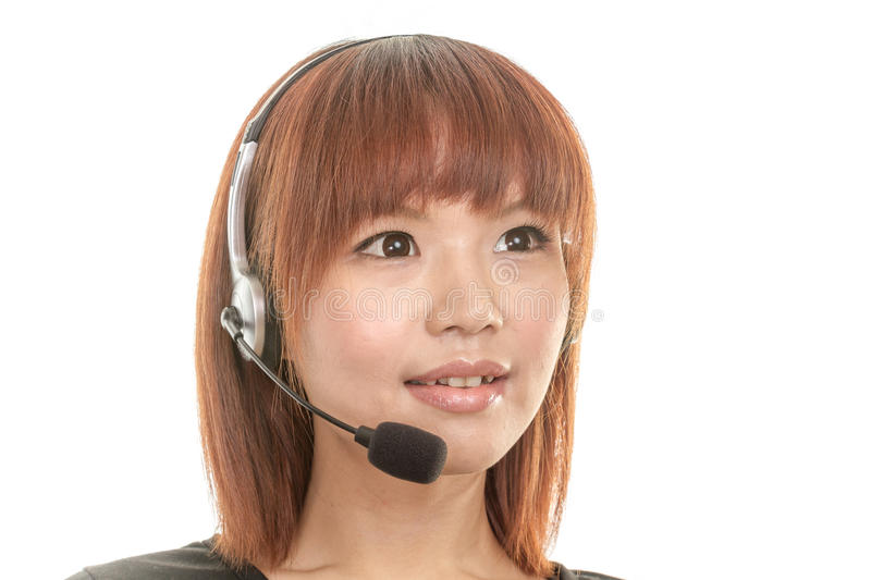 Call center operator with headset mic royalty free stock photo