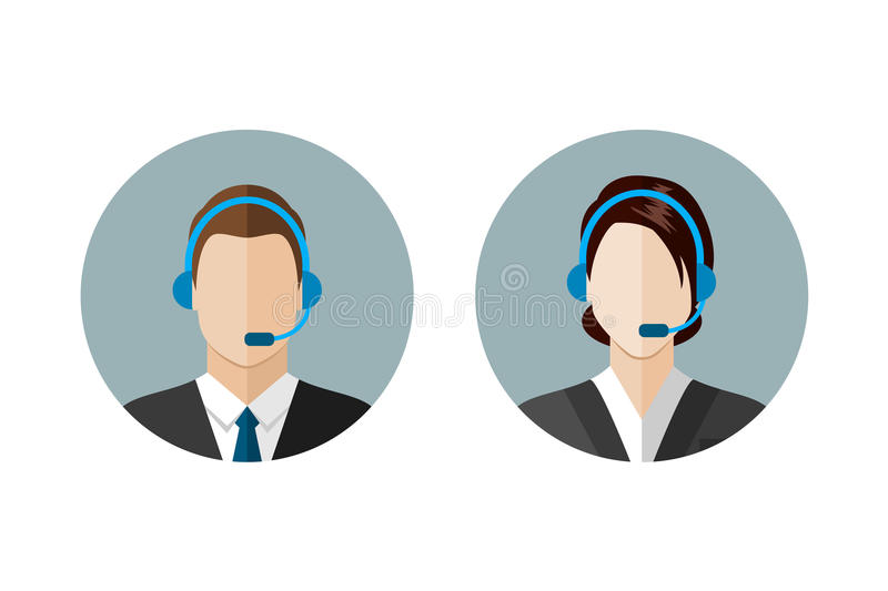Call center operator icons vector illustration