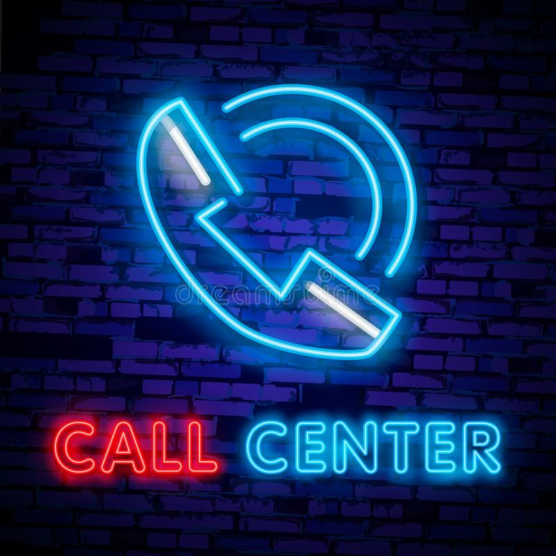 Call center operator neon light icon. Support service glowing sign. Vector isolated illustration stock illustration