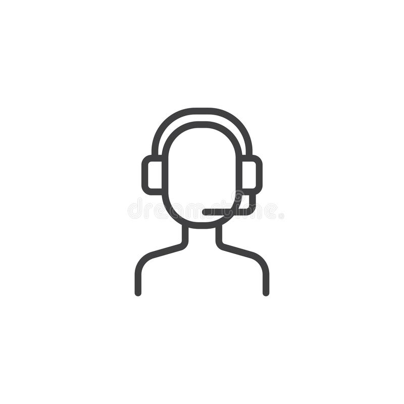 Call center operator outline icon vector illustration