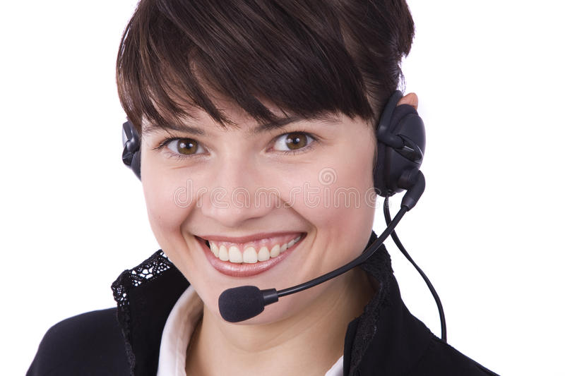 Call center operator. Woman with headset royalty free stock photos