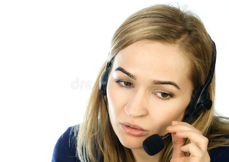 Call center representative talking on helpline, Headset telemarketing positive female call center agent at work. Call center representative talking on helpline stock images